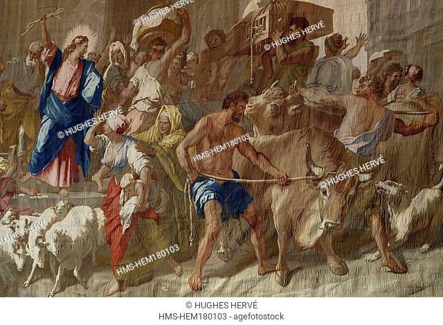 France, Paris, Les Gobelins, tapestry by Jean Jouvenet in chapel, Christ driving out merchants of the Temple