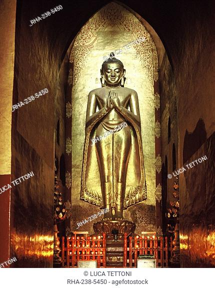 Giant Buddha image from Pagan period, Ananda temple, Bagan Pagan, Myanmar Burma, Asia