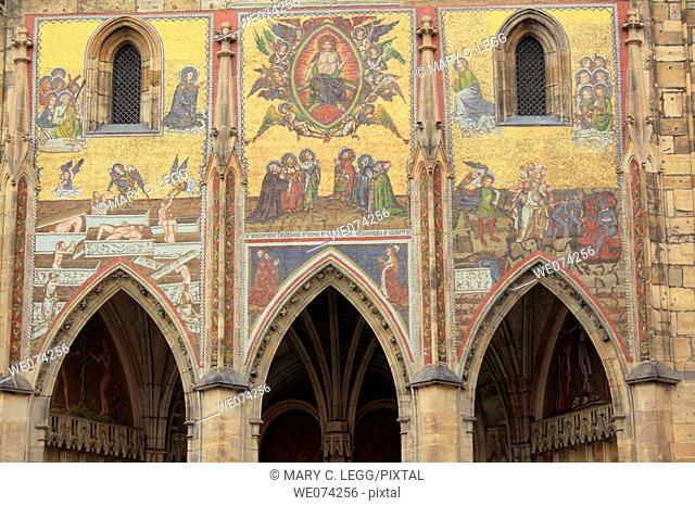The Byzantine style mosaic over the southern portal into St Vitus Cathedral is known as the Golden Gate. It was created to be the  Royal Portal as it stands...