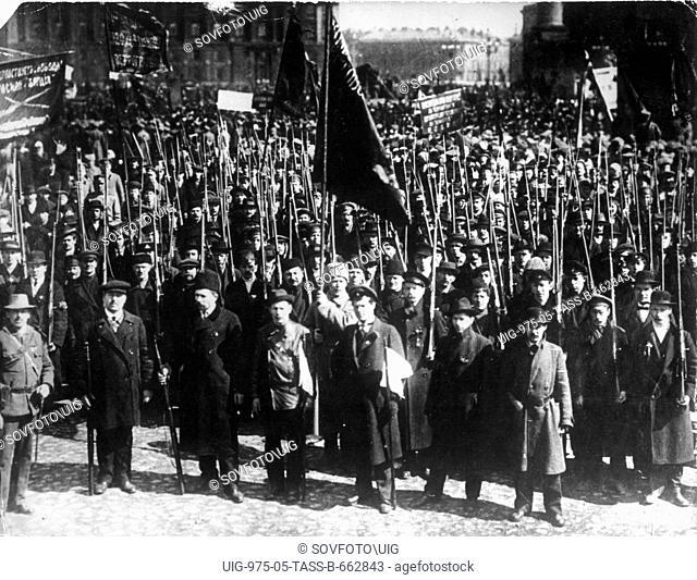 Demonstration in manezh square, petrograd ( st, petersburg ), 1917