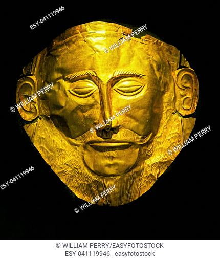 Golden Funeral Mask of Agamemnon Trojan War Statue National Archaeological Museum Athens Greece. Mask 1550 1500 BC from Mycenae Greece.