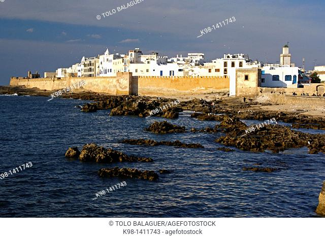 The casbah Skala viewed from the port, Essaouira, mogador, Costa Atlantica, Morocco, North Africa, Africa