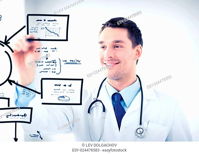 healthcare, medical and technology concept - young doctor working with something imaginary