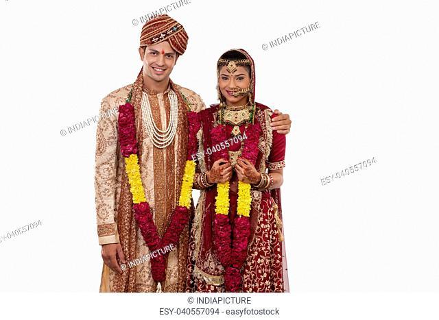 Portrait of a Gujarati bride and groom