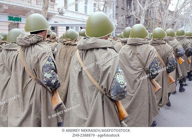 April 10, Odessa, Ukraine. Reconstruction parade April 10, 1944, dedicated to the liberation of Odessa from the German fascist invaders