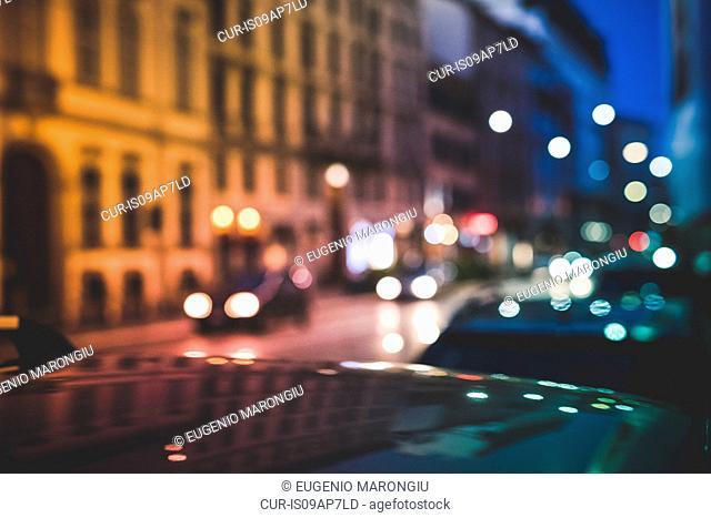 Busy road at night, Milan, Italy