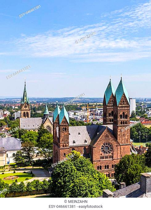 View on the Church of the Redeemer is an Evangelical church in Bad Homburg, Germany