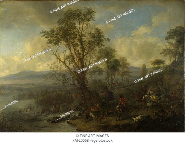 A Stag Hunt. Wouwerman, Philips (1619-1668). Oil on canvas. Baroque. ca 1665. Holland. National Gallery, London. 75x104,2. Genre. Painting