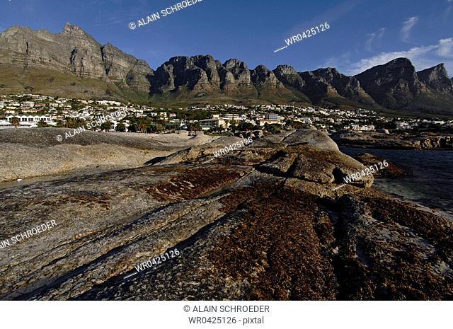 Mountains in a landscape, Camps Bay, Cape Town, Western Cape Province, South Africa