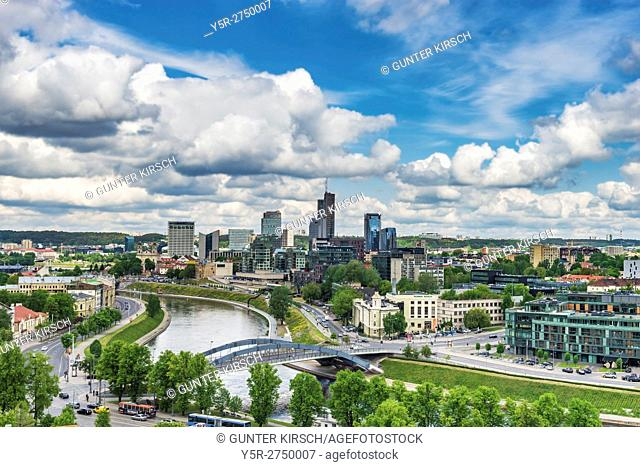 View over the river Neris to the New City Center (Naujamiestis) from Vilnius, Lithuania, Baltic States, Europe