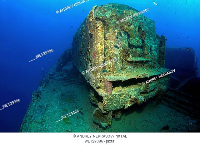 "wagon on shipwreck """"SS Thistlegorm"""". Red sea, Egypt, Africa"