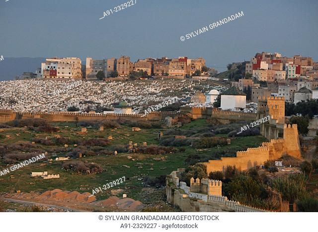 North Africa, Morocco, City of Fez (Fes), Medina, view from Faraj Palace at dusk
