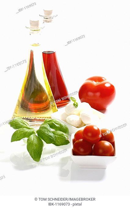 Tomatoes, mozzarella, basil, olive oil and balsamic vinegar