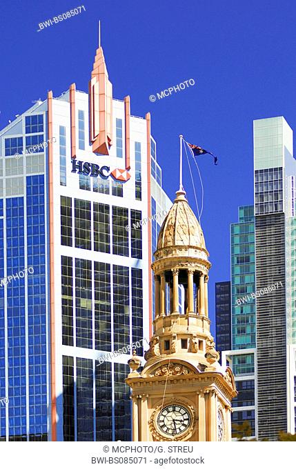 high-rise building of the HSBC-Bank and tower of the town hall, Australia, New South Wales, Sydney