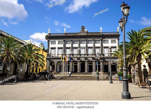 Town hall (Casas Consistoriales) in Plaza Santa Ana in the old historic town of Las Palmas de Gran Canaria, Canary Islands, Spain, Europe