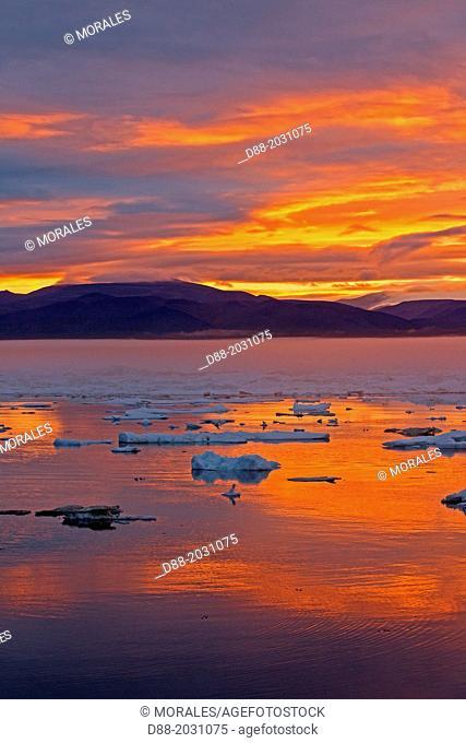 Russia , Chukotka autonomous district , Wrangel island , Pack ice at sunset