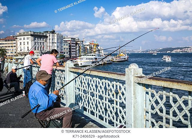 Fishing from the Galata Bridge in Istanbul, Turkey, Eurasia