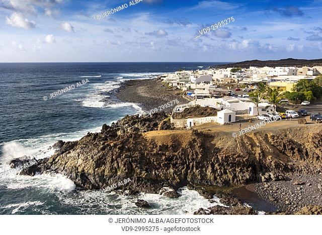 Fishing village, El Golfo. Lanzarote Island. Canary Islands Spain. Europe