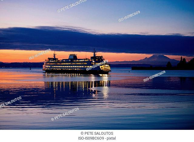 Ferry on Puget Sound at sunset, Bainbridge, Washington, United States
