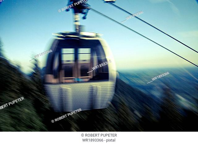 Cable car on the move, Bavaria, Germany