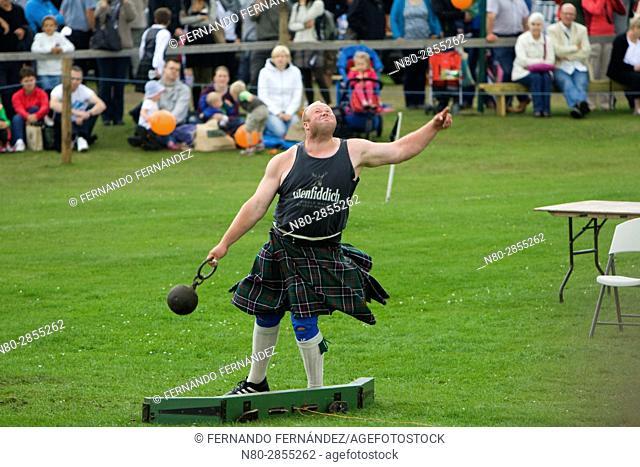 Weight Throw, a weight for distance event. Highland Games. Aboyne. Aberdeenshire. Scotland. Europe
