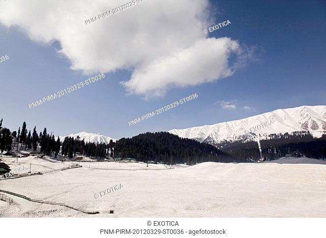 Snow covered landscape, Jammu And Kashmir, India
