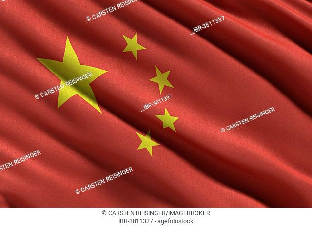 Flag of the People's Republic of China waving in the wind