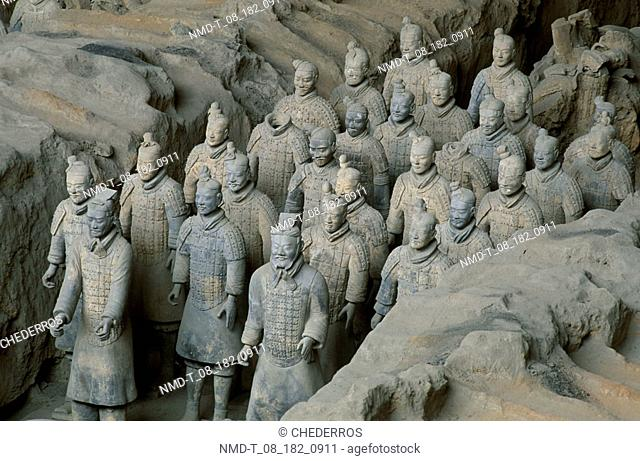 High angle view of statues of terracotta soldiers, Shaanxi Province, Xi'an, China