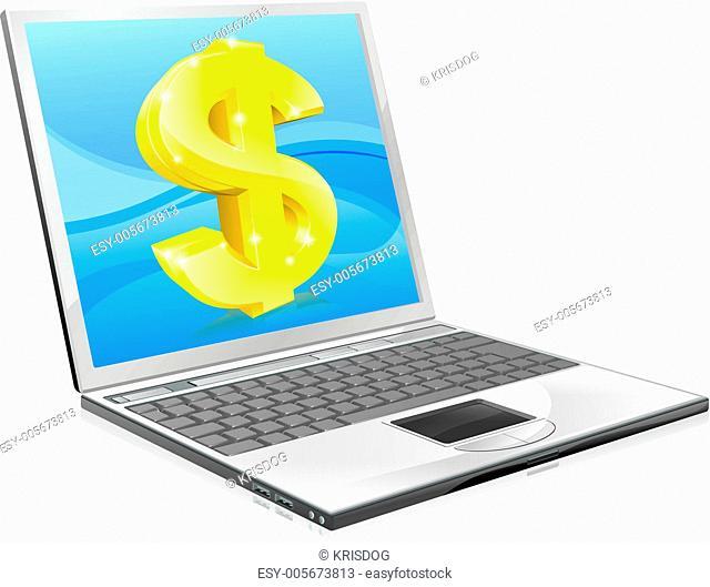 Laptop dollar money concept