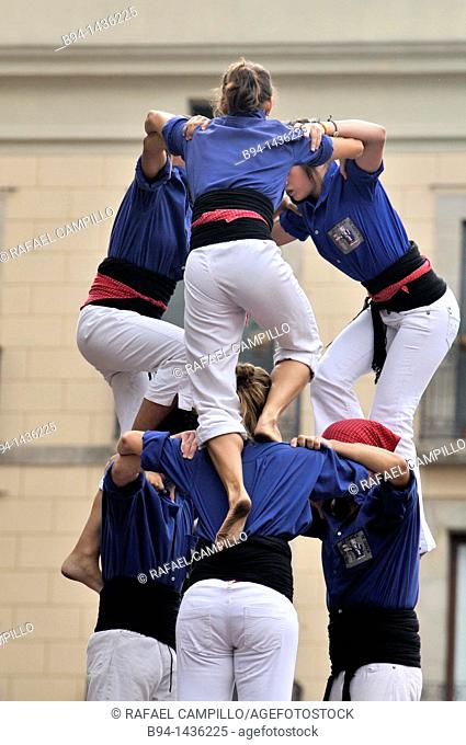 'Castellers' typical human towers in Catalonia, La Merce festival, Sant Jaume square, Barcelona, Catalonia, Spain