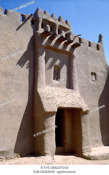 Entrance to 17th century mud house.Mali Djenne entrance to a 17th century mud constructed home