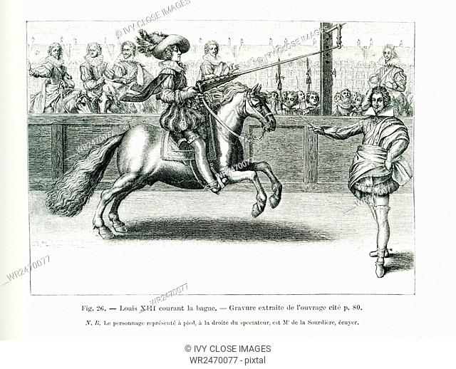The caption for this engraving reads: Louis XIII enters the ring. The person on foot at right is Squire M. de la Sourdiere
