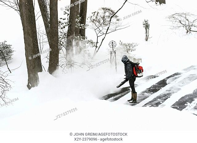 Woman clears driveway snow with a leaf blower