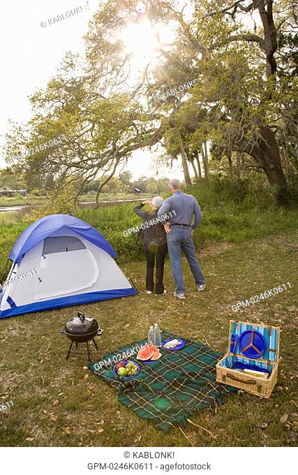 Senior couple standing in front of tent in garden, high angle view
