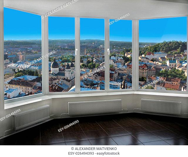 modern window with view of Lviv bird's-eye view