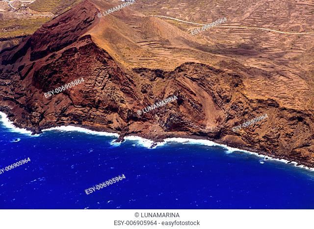 Aerial view from airplane of La Palma
