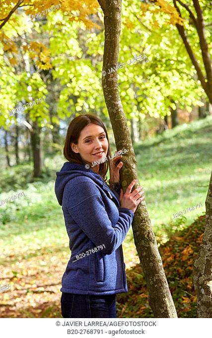 Woman, Autumn, Pagoetako Parke Naturala, Pagoeta Natural Park, Aya, Gipuzkoa, Basque Country, Spain