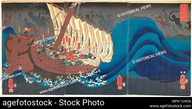 Revenge of the Taira Warriors. Artist: Utagawa Kuniyoshi (Japanese, 1797-1861); Period: Edo period (1615-1868); Date: 1843-47; Culture: Japan; Medium: Triptych...