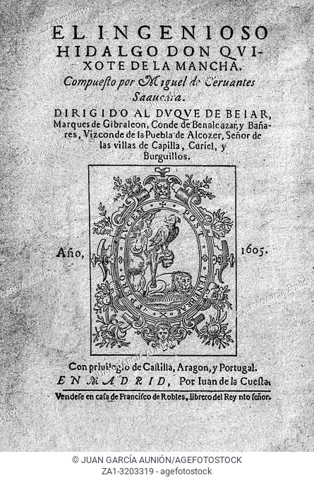 Title page of the first edition of Don Quixote novel by Miguel de Cervantes published in 1605