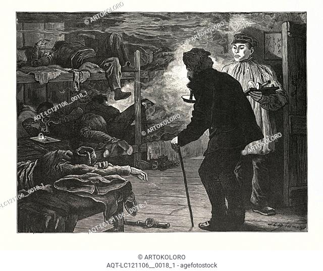 AN OPIUM DEN A CHINESE CITY. CHINA, engraving 1880