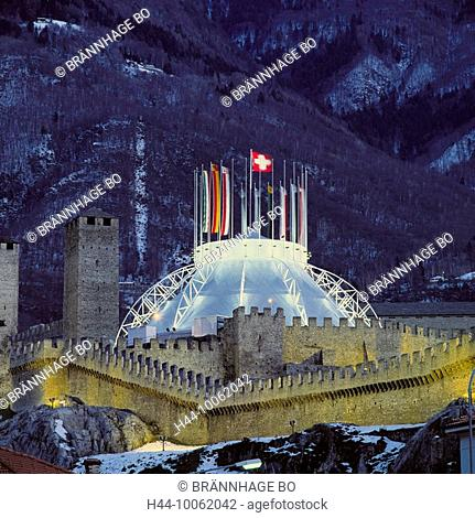 10062042, Switzerland, Europe, Ticino, Bellinzona, at night, Botta tent, castle, lighting