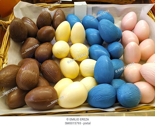 Balls of chocolate for Easter. Catalonia, Spain