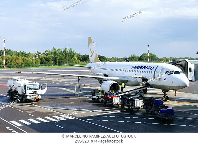 Docked, Freebird, Turkish charter airline, aircraft in the Vilnius Airport. Vilnius, Vilnius County, Lithuania, Baltic states, Europe