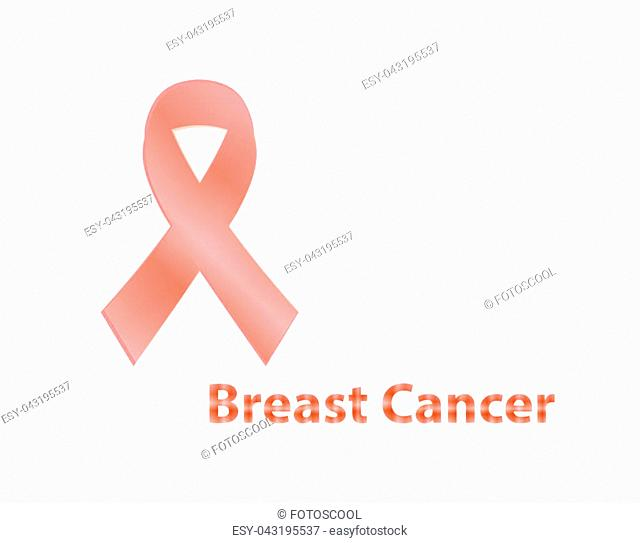 Realistic pink ribbon, breast cancer awareness symbol, isolated on white