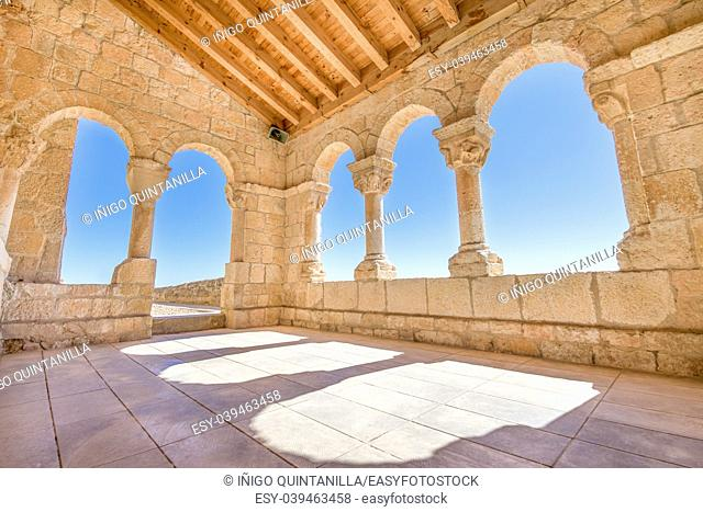 archs in portico and gallery of church Santa Maria del Rivero, romanesque landmark and public monument from 12th century, in San Esteban de Gormaz, Soria, Spain