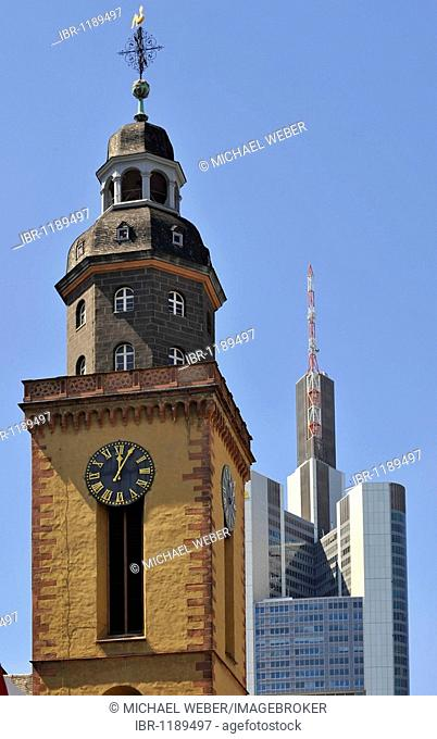 Tower of St. Catherine's Church in front of the Commerzbank Tower, Frankfurt am Main, Hesse, Germany, Europe