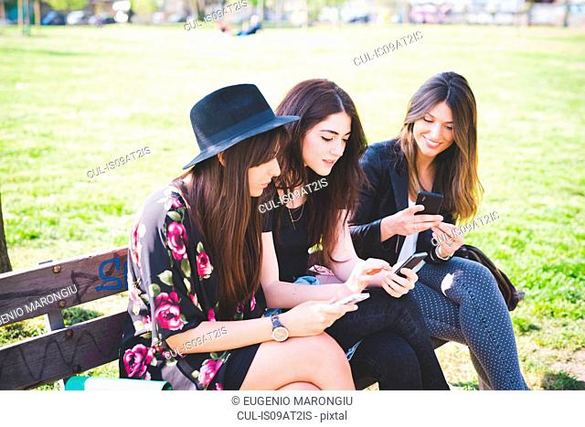 Three young female friends reading their smartphones on park bench