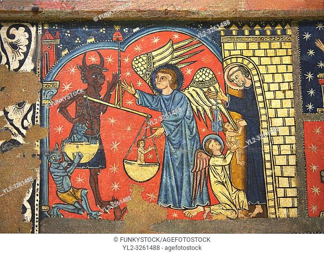 Gothic altar panel depicting St Michael weighing the souls at the Last Judgement. End of the 13th century, tempera on a spruce wooden panel from The Church of...