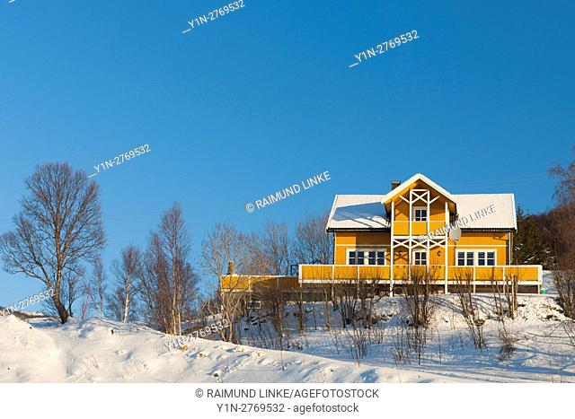 House in Landscape, Straumsbukta, Kvaloy, Tromso, Troms, Norway