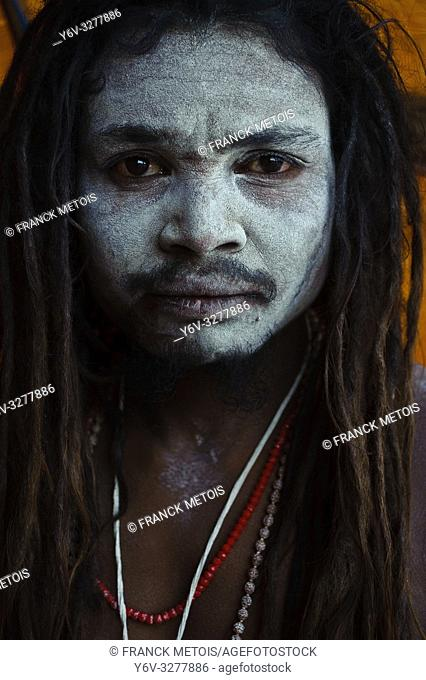 "Hindu ascetic (""""sadhu"""") from the Naga sect ( Varanasi, India)"